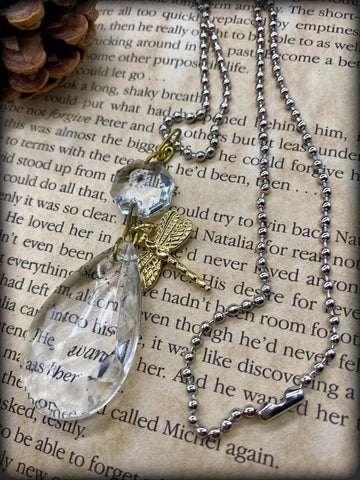 Dragonfly Crystal Chandelier Necklace