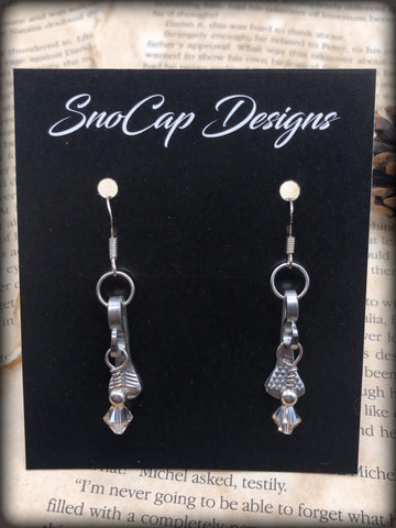 Champagne Bead Horseshoe Earrings