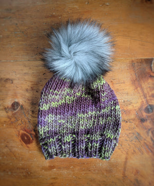 Lavender and Lime Faux Pom Hat