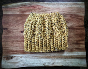 Mustard Tweed Messy Bun Hat