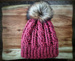 Oversized Rose Tweed Cable Pom Hat (Faux Fur)