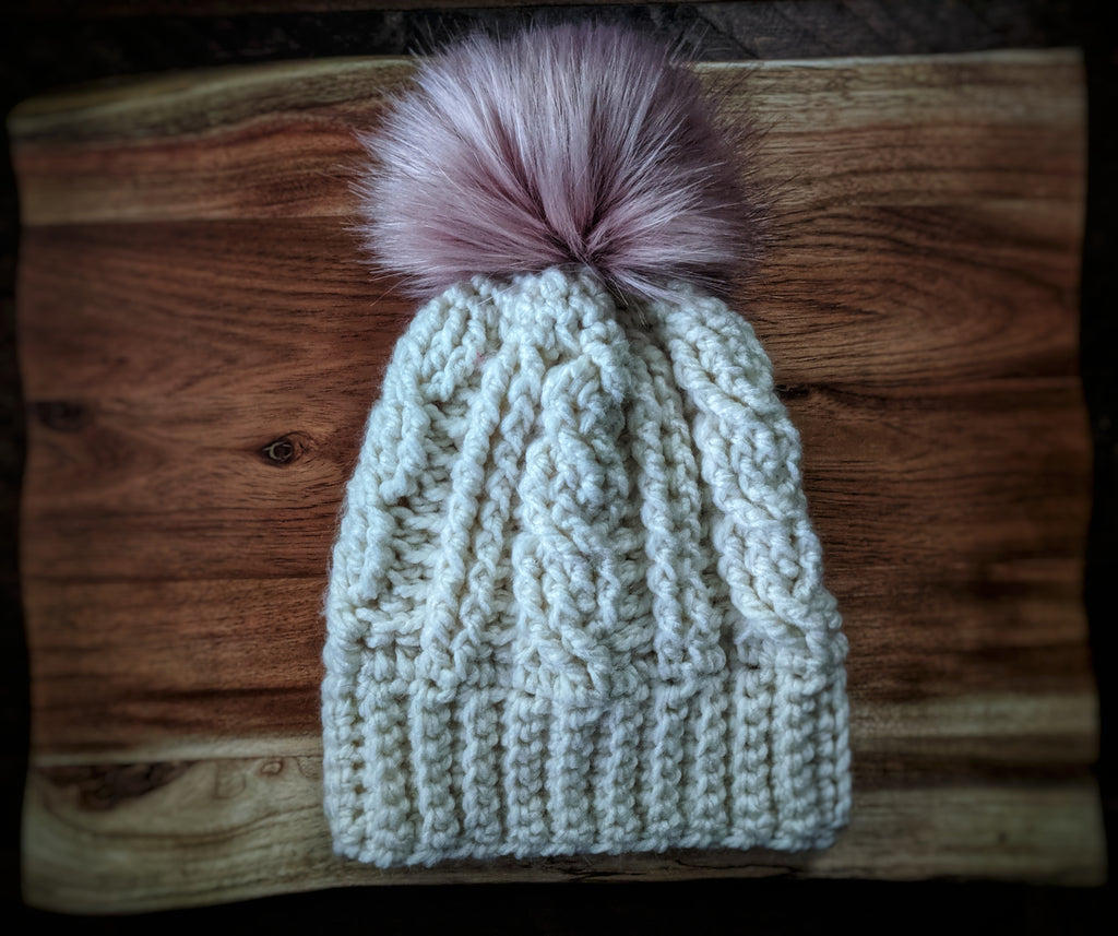 Oversized Cream Cable Pom Hat (Faux Fur)
