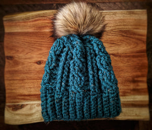 Oversized Teal Tweed Cable Pom Hat (Faux Fur)