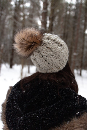 Oversized Off White Tweed Cable Pom Hat (Faux Fur)
