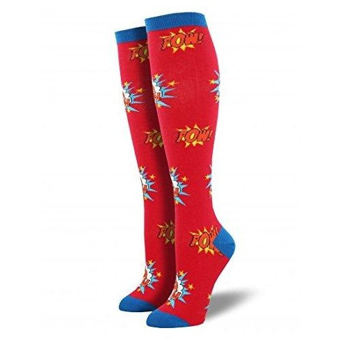 Women's Knee High Red Bam Pow - Laughing Sock, Women's Socks - socks, SockSmith - Hot Sox, Sock Guy, Socksmith
