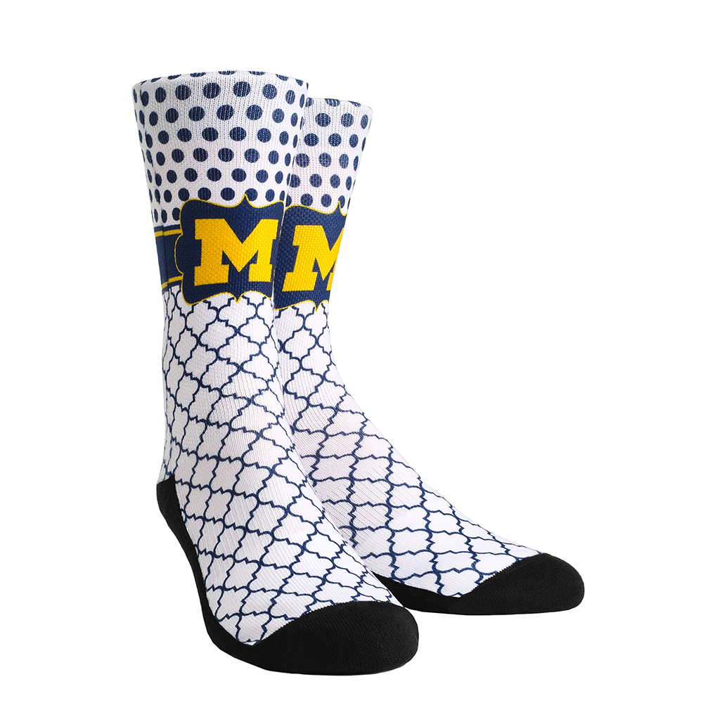 Michigan Wolverines - Quatrefoil Dots Crew