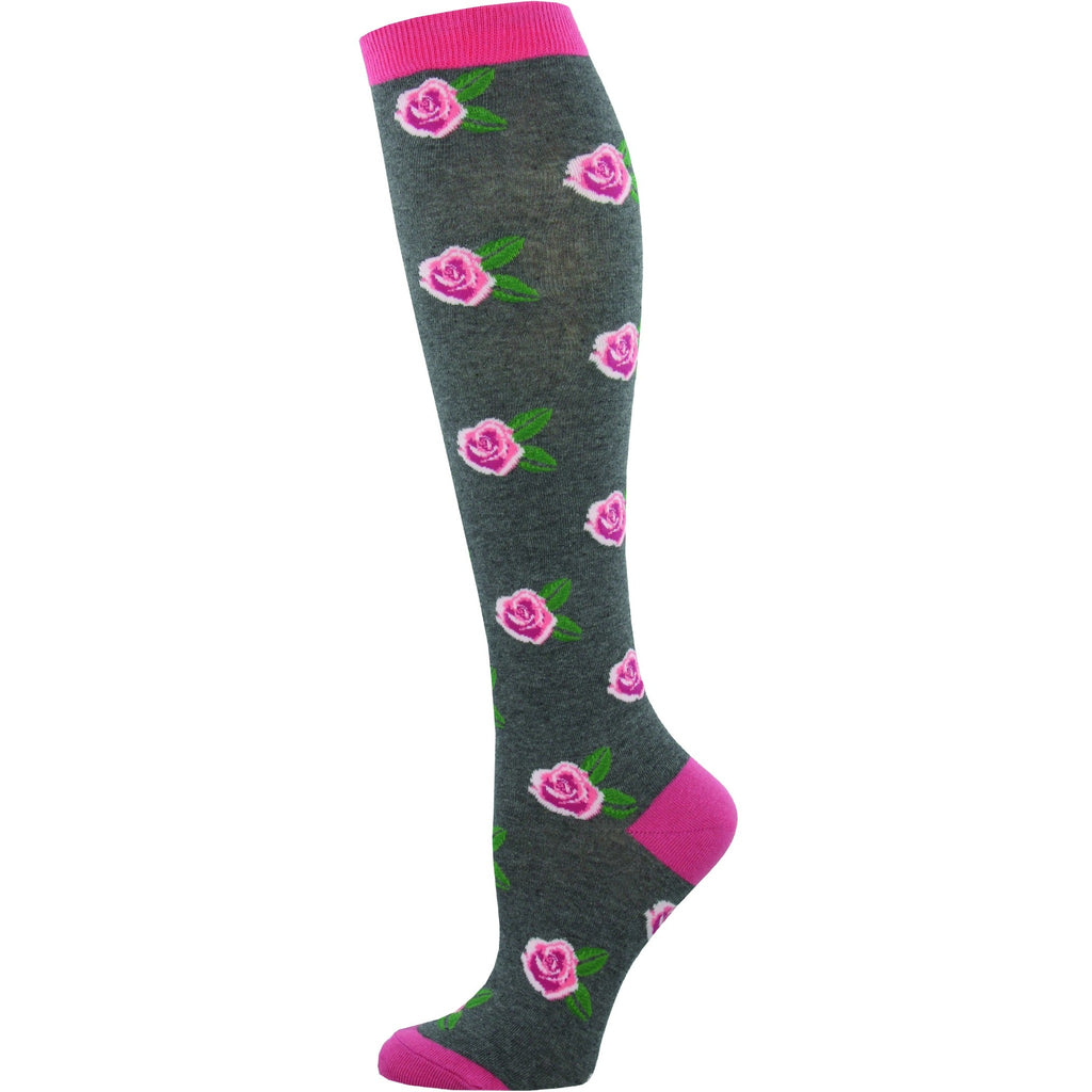 Women's SMELL THE ROSES KNEE HIGH SOCKS - Laughing Sock, Women's Socks - socks, SockSmith - Hot Sox, Sock Guy, Socksmith