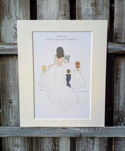 Bride, Bridesmaid, page boy & flower girl Illustrations