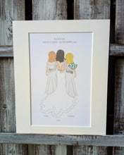 Load image into Gallery viewer, Bride, Bridesmaid, page boy & flower girl Illustrations