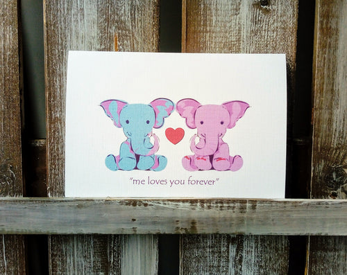 Elephants Cute Couple Valentines Card