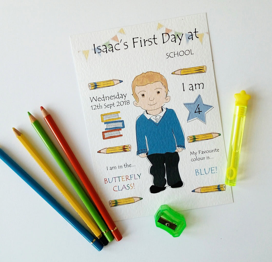 First Day at School, Preschool, Nursery prints & cards