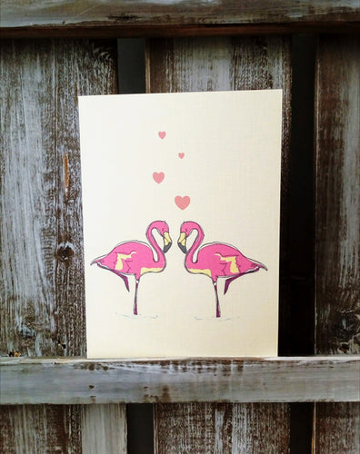 Flamingos Cute Couple Valentines Card