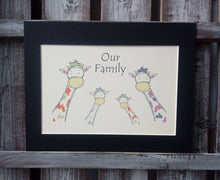 Load image into Gallery viewer, Giraffe Family Personalised Print