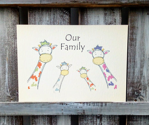 Giraffe Family Personalised Print