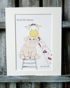 Giraffe & Pig Wedding Print