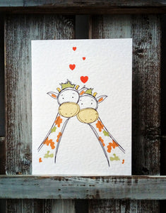 Giraffe with hearts Valentines Card