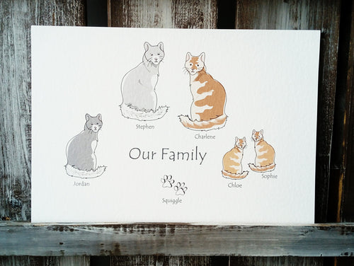 Cat Family Personalised Print