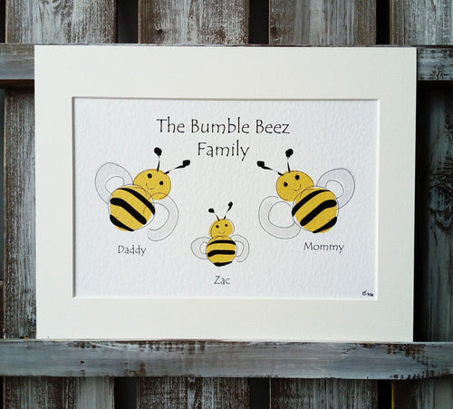 Bee Family Personalised Print