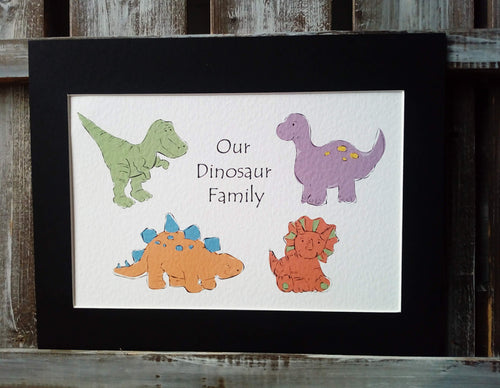 Dinosaur Family Personalised Print