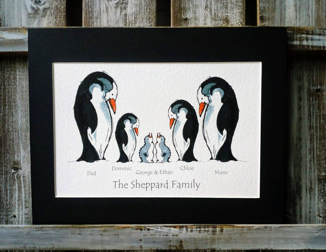 Penguin Family Personalised Print