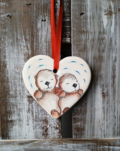 Otters Ceramic Heart