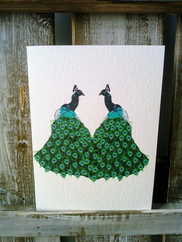 Peacocks Couple Greetings Card