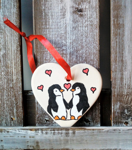 Penguins Ceramic Heart