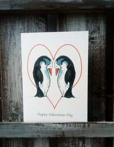 Penguins with hearts Valentines Card