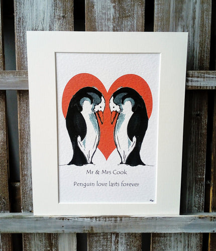 Penguins in Love Print