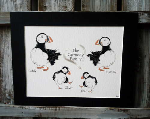 Puffin Family Personalised Print