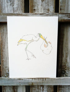 Stork New Baby Greetings Card
