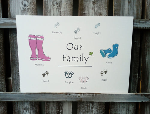 Wellies Family & Pet Personalised Print