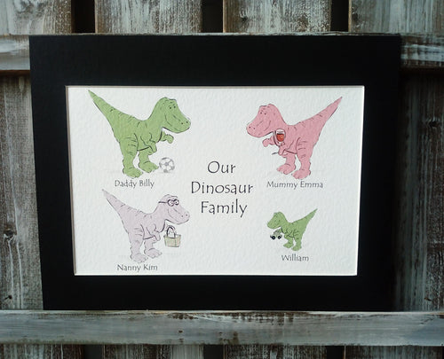 T-Rex Family Personalised Print
