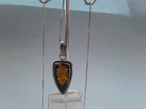Baltic Amber Pendant with Chain