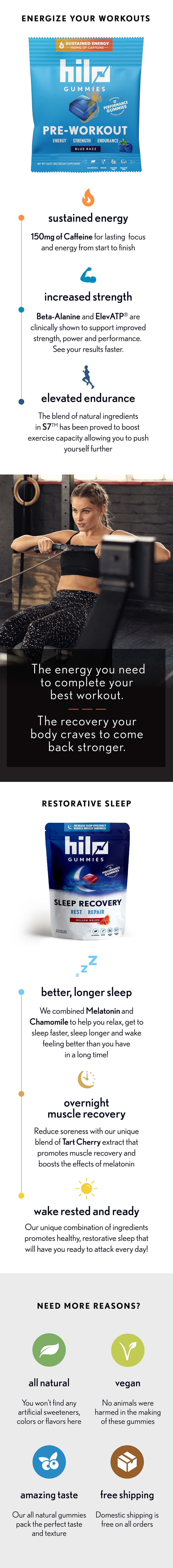 hilo performance gummies energy and sleep bundle. Pre-Workout and Sleep Recovery Gummies in a Money Saving Bundle
