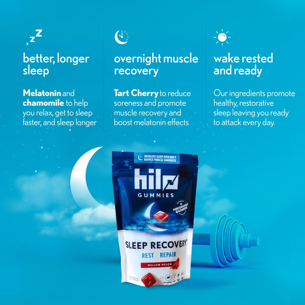 Hilo Sleep Recovery Gummies - Performance Gummies with Melatonin for Sleep and Muscle Recovery