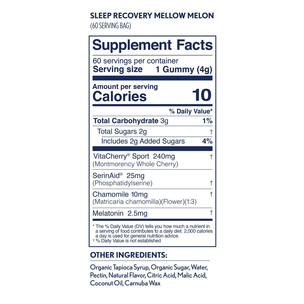 Hilo Sleep Recovery Gummies - Performance Gummies with Melatonin for Sleep and Muscle Recovery -  nutrition panel