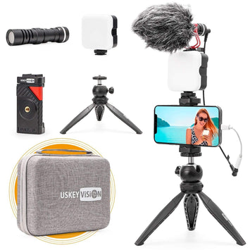 VLOG K2 Smartphone Video Kit with Zoom Conference Light, Microphone, Tripod - USKEYVISION