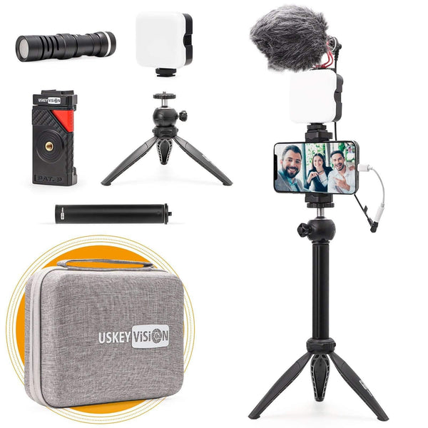 VLOG K3 Vlog Kit with Cardioid Microphone, Video Light, Monopod Combo - USKEYVISION