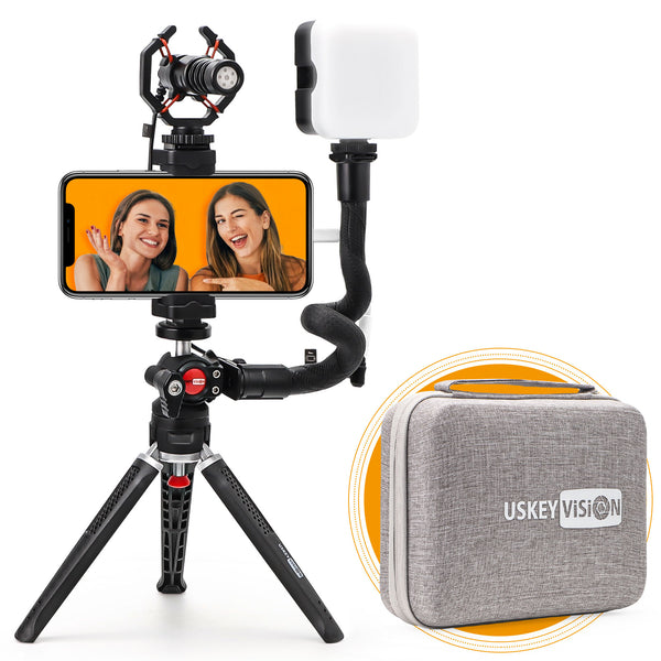 USKEYVISION Smartphone Video Vlogging Kit/Video Microphone Light Kit/YouTube Equipment, with Unique Design, for iPhone & Smartphones, for Video Recording and Vloggers (V-Master)
