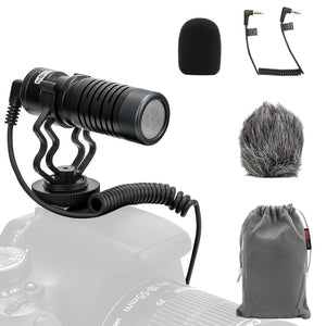 USKEYVISION UVM-X Cardioid Microphone On-Camera Microphone Audio Recording Mic with Shock Mount, Windscreen, Professional Microphone for Computer, Smartphone and Most Cameras