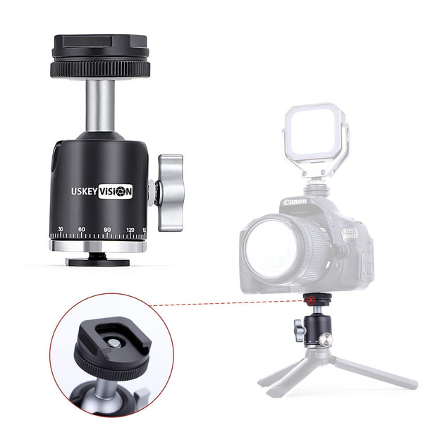 USKEYVISION Camera Tripod Ball Head with Hot Shoe Ball Head 360° Fluid Rotation Camera Video for Tripod Monopod Ball-head Max Load 2KG(UVMC-BH1)