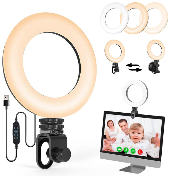 UVZL-R Ring Light Video Conference Light for Computer Laptop Cameras with Monitor Clip-on