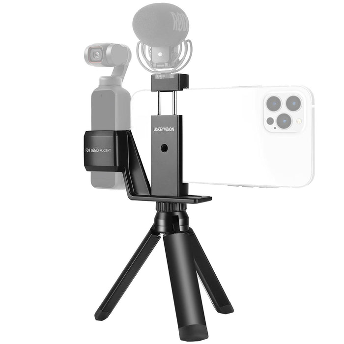USKEYVISION DJI Pocket 2 Osmo Pocket Mount Phone Vlog Kit With Tripod & Phone Holder for DJI Osmo Pocket Gimbal Camera Accessory for Filmmakers Vlog(UVOP-A1)