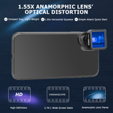 USKEYVISION 1.55X Anamorphic Lens for iPhones 12ProMax, 12Pro, 12Mini, Samsung Android Phone with 2.76:1 Ratio Attachment Lens Shot by FilmicPro App Smartphone Filmmaking Cinematic Lens for Smartphone(UVAL-1.55X)