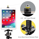 UVPA-C1 iPad Tablet Tripod Mount for 5.4-12inch Tablet Adjustable iPad Clip Tablet Holder for iPad Air/Mini/Pro and Most Tablets(5.4-12inch) - USKEYVISION