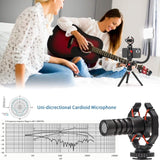 V-Master Smartphone Vlog Kit Super-Cardioid Microphone Video Light Flexible Rod Combo