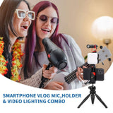 VLOG K2 Smartphone Video Kit with Zoom Conference Light, Microphone, Tripod