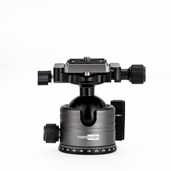 USKEYVISION Camera Tripod Ball Head Set with 1/4 inch Quick Release Plate Tripod Mount for Mirrorless, DSLR Cameras Tripod Ball Head 360 Degree Rotating Time-lapse Panorama Photography (UVMC-PB1)