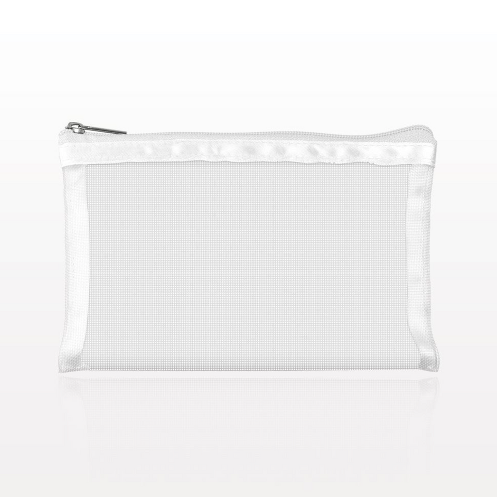 White Mesh Cosmetic Bag . Small